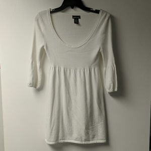 Long white scoop neck sweater